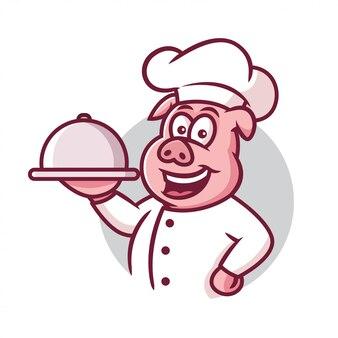 Шеф-повар свинья талисман мультфильм
