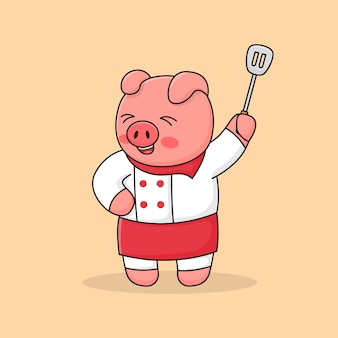 Chef piggy holding spatula