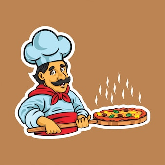 Chef pizza illustration