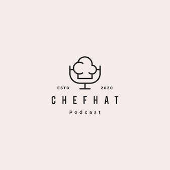 Chef podcast logo hipster retro vintage icon for food cooking restaurant blog video vlog review channel