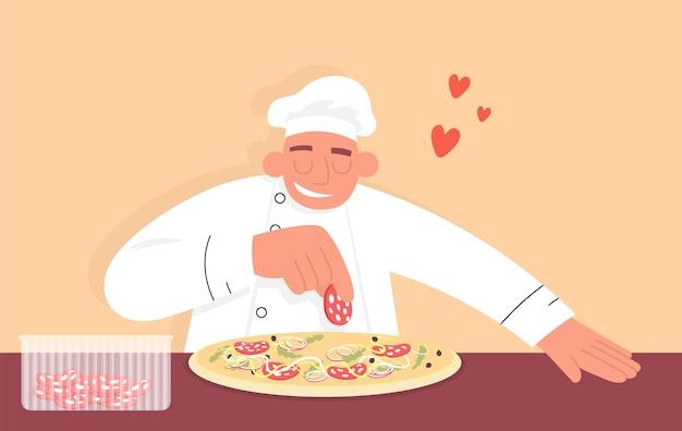 Шеф-повар готовит пиццу вручную, добавляя ингредиенты плоский векторный цветной мультяшный значок для пиццерии