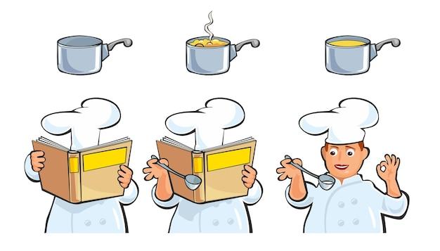요리사는 수프를 준비하고 시식하며 조리법 요리책을 들고 있습니다. 평면 벡터 컬러 일러스트입니다. 흰색 배경에 고립