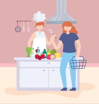 음식을 준비하는 요리사
