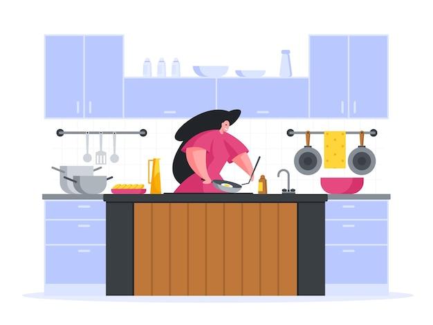 Шеф-повар готовит заказ на обед в кафе иллюстрации шаржа
