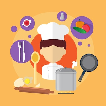Chef professional cook man icon flat vector illustration
