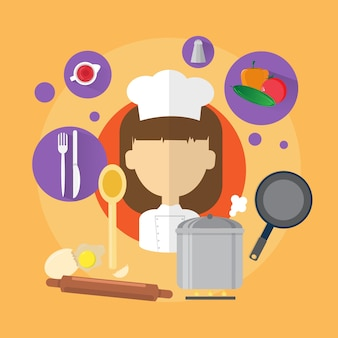 Chef professional cook woman icon flat vector illustration