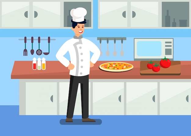 Chef in professional kitchen cartoon illustration