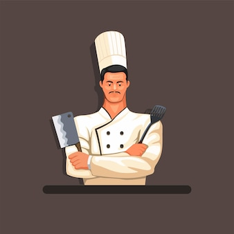 Chef ready to cooking figure character mascot concept in cartoon illustration
