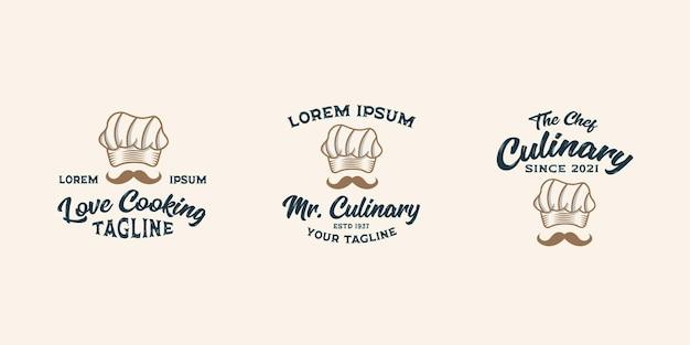 요리사 레스토랑 로고 디자인 템플릿 벡터 프리미엄, 요리사 요리, 요리사 모자, 개요 요리사 모자