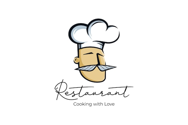 Chef restaurant logo with love illustrations template