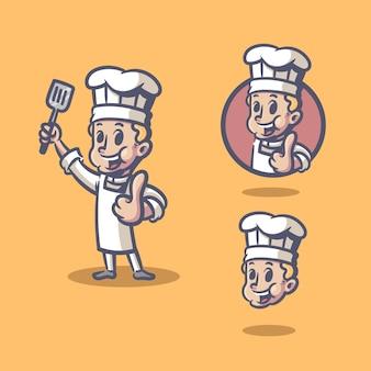 シェフのレトロなキャラクターマスコット漫画