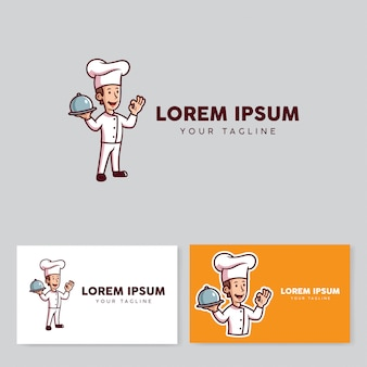 Chef retro style mascot cartoon logo