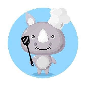 요리사 코뿔소 귀여운 캐릭터 로고