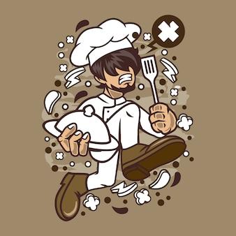 Chef running cartoon