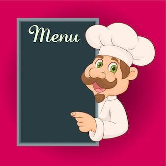 Chef showing menu sign blackboard smiling happy