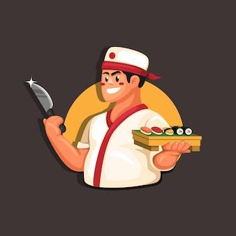 만화 그림에서 요리사 초밥 전통적인 일본 음식 레스토랑 마스코트 개념
