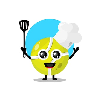 Повар теннисный мяч милый персонаж талисман