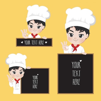 Chef text boy signage with handsome smile