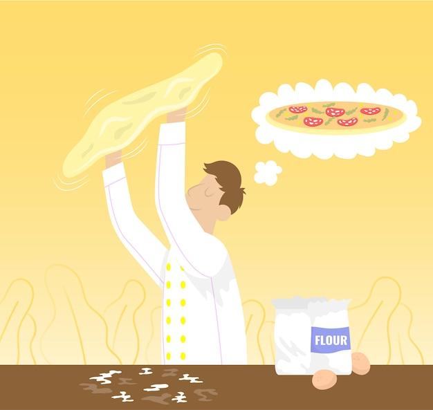 Шеф-повар думает о пицце и готовит тесто, бросая плоский векторный мультяшный значок для пиццерии