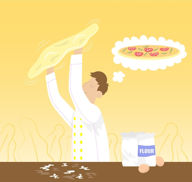 Chef thinking about pizza and preparing dough throwing up flat vector cartoon icon for pizzeria