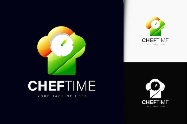 Chef time logo design with gradient