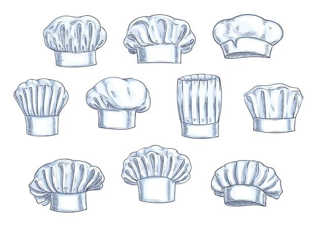 요리사 toques, 모자 및 모자. 다양한 모양과 형태.