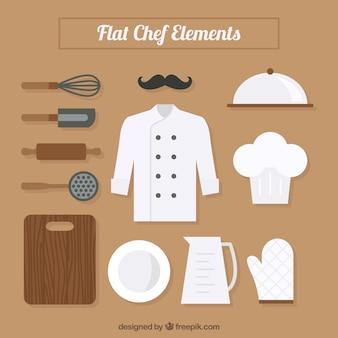 Chef uniform and kitchen utensils