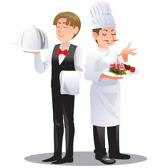 Chef and waiter cartoon illustration of occupation concept