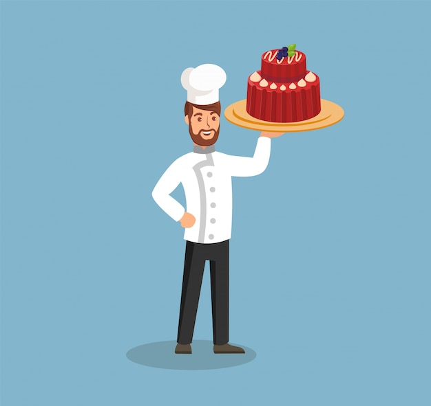 Chef wearing hat and coat flat vector illustration