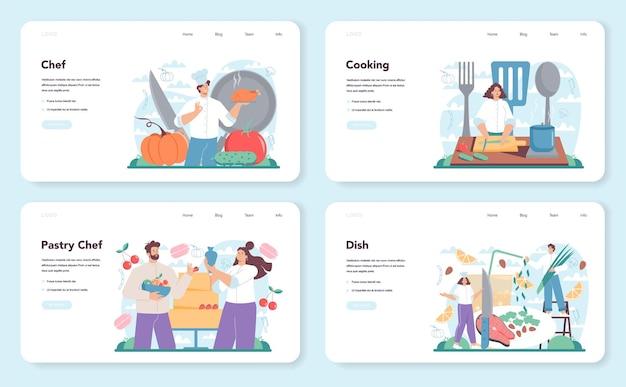 요리사 웹 배너 또는 방문 페이지 세트