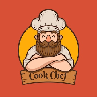 Chef with beard and mustache illustration mascot logo