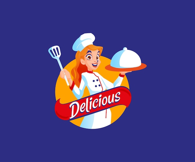 A chef with delicious food mascot logo