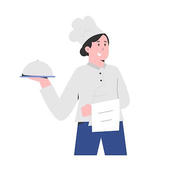 노동절에 고객을위한 음식을 가진 요리사