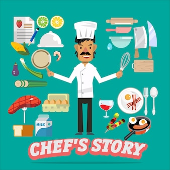 Chef with food and kitchen element.