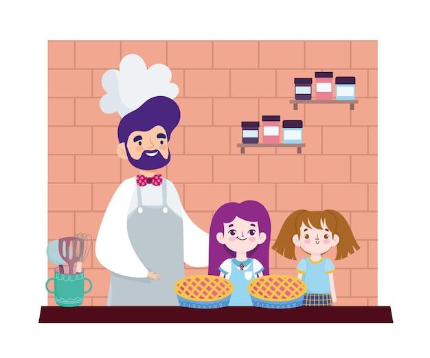 Шеф-повар с девушками готовит сладкий десерт