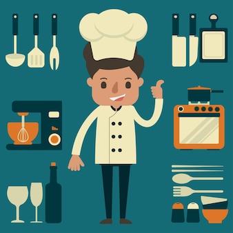 Шеф-повар с кухонным оборудованием
