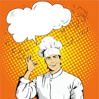 Chef with speech bubble shows ok sign