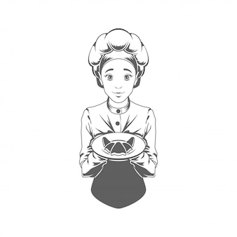 Chef woman giving croissant vector illustration silhouette isolated