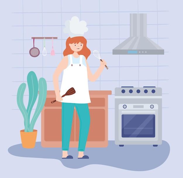 부엌에서 요리사 여자