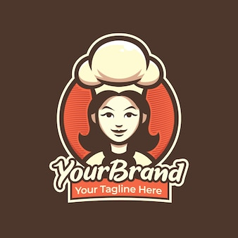 Chef woman logo for pastry, restaurant, cafe logo illustration mascot