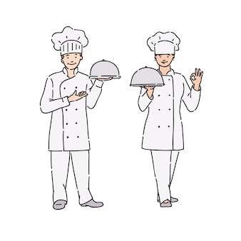 Chef woman and man in professional uniform with dish in hand. illustration in line art style on white