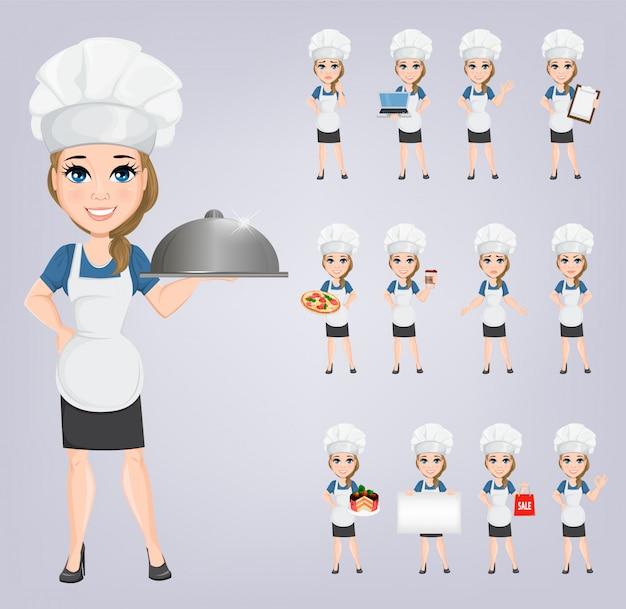 Chef woman set. cute cartoon character cook