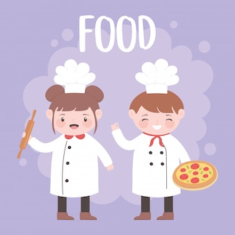 Повара мальчик и девочка с пиццей и скалкой мультипликационный персонаж