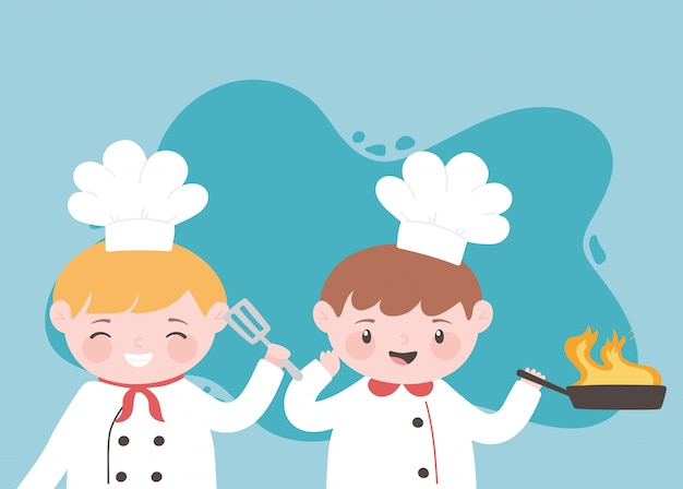 Повара мальчики мультипликационный персонаж с жареной сковородой и лопаткой