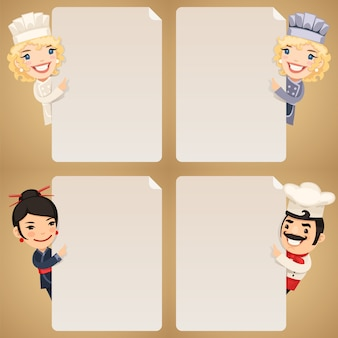 Chefs cartoon characters looking at blank poster set