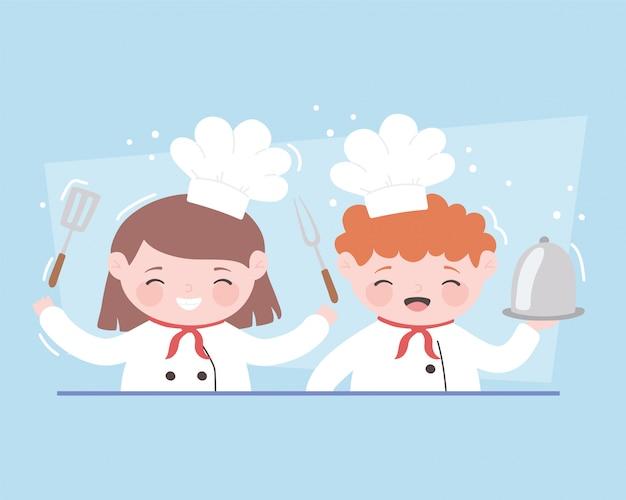 플래터 포크와 주걱 요리사 소녀와 소년 만화 캐릭터