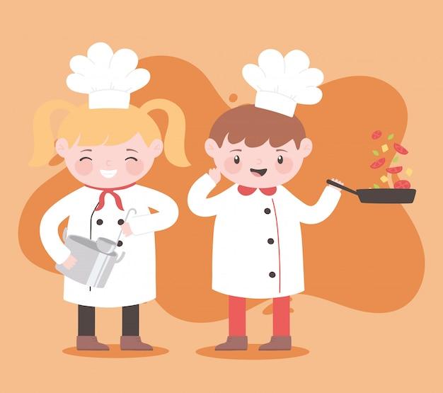 국자 냄비와 야채 만화 캐릭터와 요리사 소녀와 소년