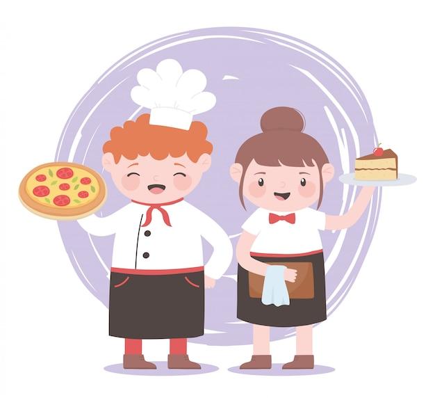 Повара девочка и мальчик с персонажами пиццы и кусок торта