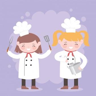 Повара девушки с вилкой и горшком кухня мультипликационный персонаж