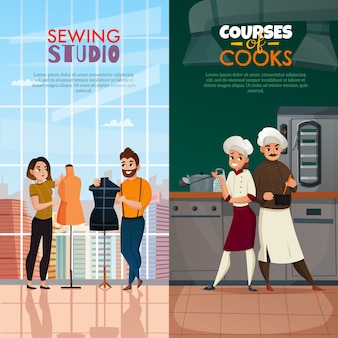 Chefs and tailors banner set